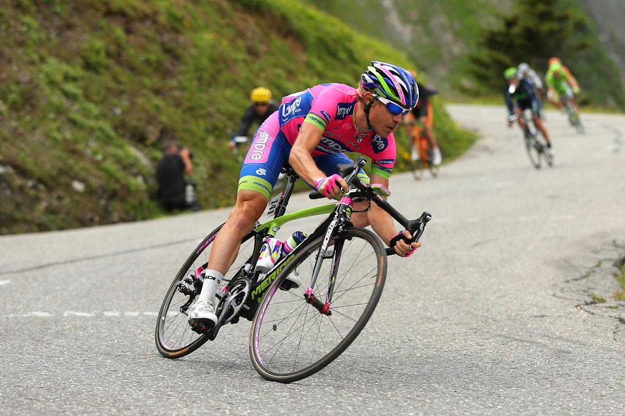 LE GRAND BORNAND, FRANCE - JULY 19: Damiano Cunego of Italy and Lampre Merida in action during stage nineteen of the 2013 Tour de France, a 204.5KM road stage from Bourg d'Oisans to Le Grand Bornand, on July 19, 2013 in Le Grand Bornand, France. (Photo by Bryn Lennon/Getty Images)