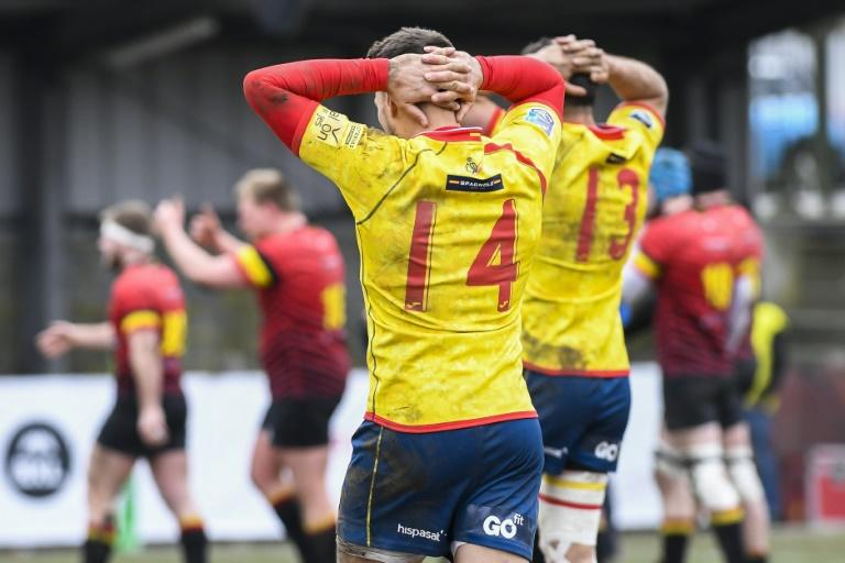 Spain's Brad Linklater reacts after losing the rugby union match in Brussels, on March 18, 2018