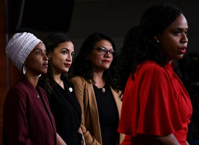 US Representatives Ayanna Pressley (R), Rashida Tlaib (second from R), Alexandria Ocasio-Cortez (third from R) and Ilhan Omar (L) at a press conference to respond to President Donald Trump (AFP Photo/Brendan Smialowski)