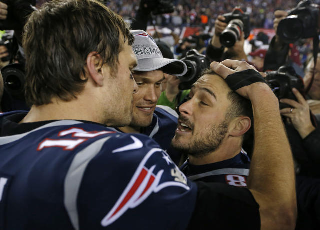 Tom Brady counts Danny Amendola, right, and Chris Hogan, center, as two of his favorite targets. Both were undrafted coming out of college. (AP)