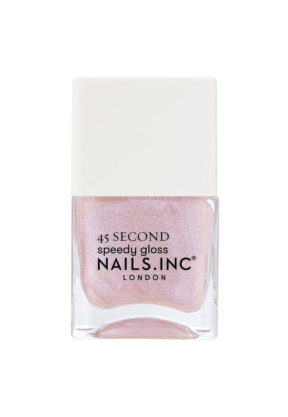 """<p>Glittery light pink is the best color for your nails to boast this month, as it'll bring out your innermost tender sentiments for the world to see. While you often shy away from letting others know your feels, now is the time to let your gentle emotions take center stage.</p> <p>To shop: $8, <a href=""""https://www.nailsinc.com/en/Starring-Me-In-Soho-Quick-Drying-Nail-Polish/m-2677.aspx"""" rel=""""sponsored noopener"""" target=""""_blank"""" data-ylk=""""slk:nailsinc.com"""" class=""""link rapid-noclick-resp"""">nailsinc.com</a></p>"""