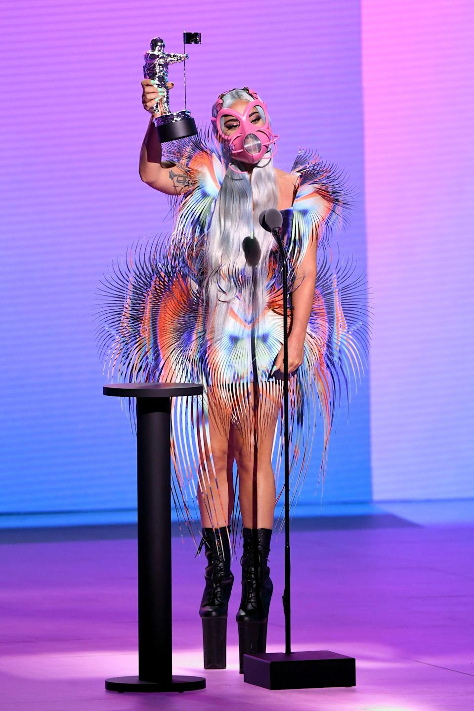 How can one perfectly describe this ensemble? It is peak Gaga, excellent yet nearly impossible to pull off.