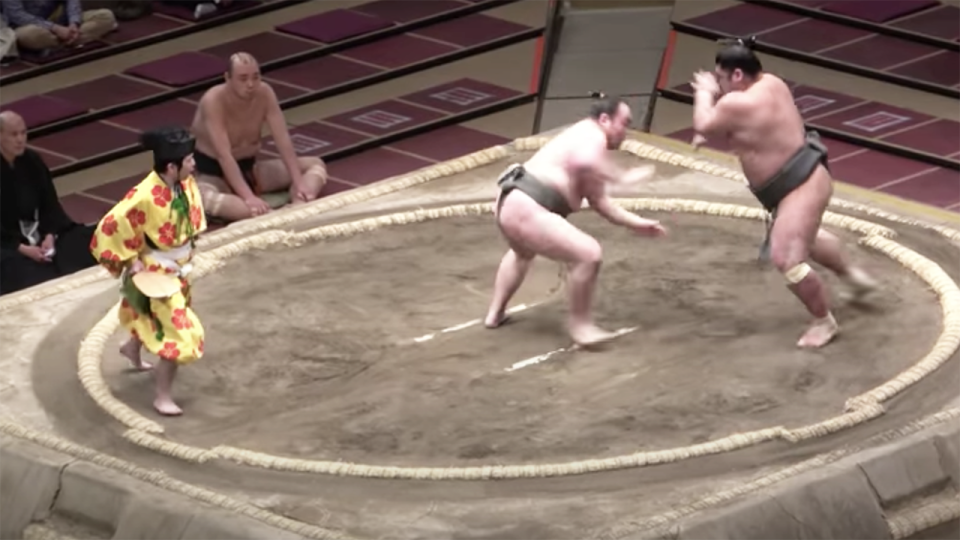 The death of Japanese sumo wrestler Hibikiryu, pictured on the right, has sent shockwaves through the sumo community. Picture: YouTube/Chris Sumo