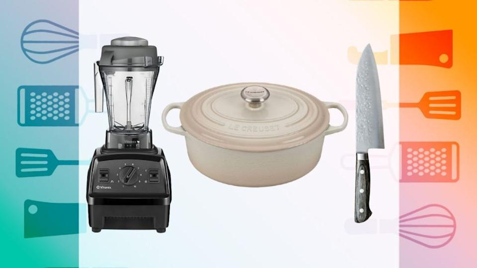 Credit: Bed Bath & Beyond, Le Creuset, Chibo Knives