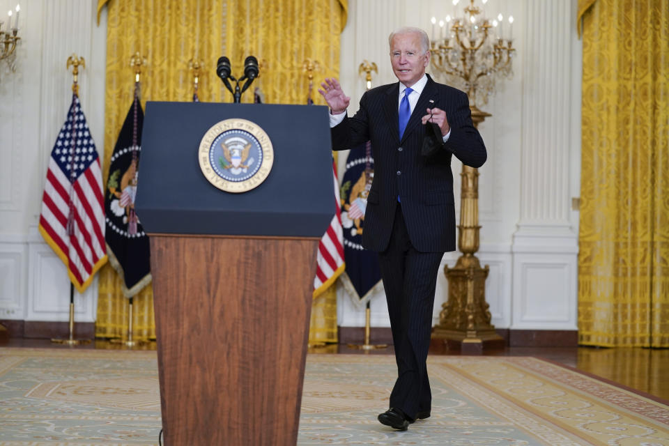 President Joe Biden arrives to speak on efforts to address global supply chain bottlenecks during an event in the East Room of the White House, Wednesday, Oct. 13, 2021, in Washington. (AP Photo/Evan Vucci)