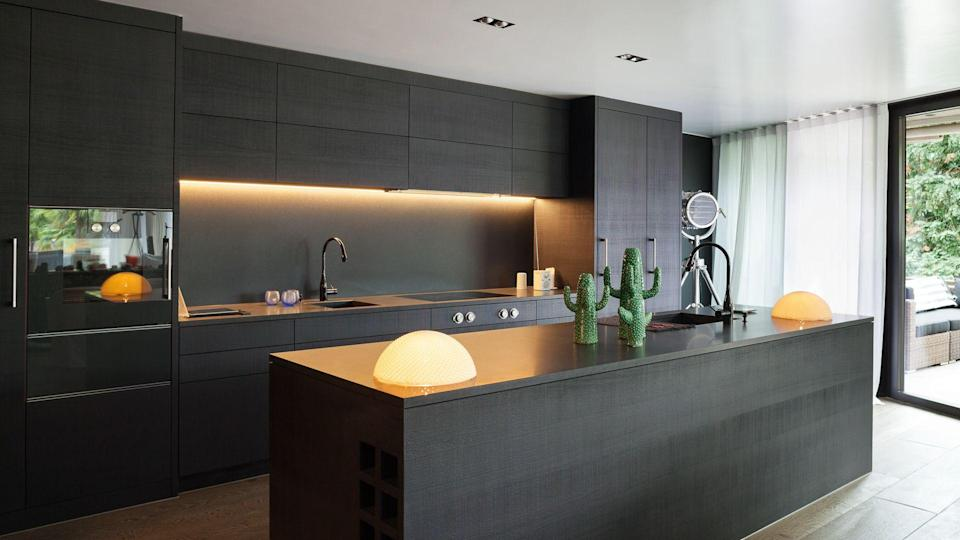 modern kitchen with closed cabinets