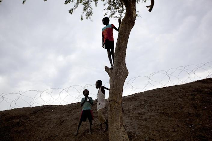 Boys play around a tree next to the perimeter of the UN Mission in South Sudan base in Bentiu, South Sudan, on September 21, 2015 (AFP Photo/Tristan Mcconnell)