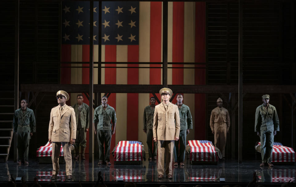 """This image released by Polk & Co. shows the cast during a performance of """"A Soldier's Play,"""" in New York. (Joan Marcus/Polk & Co. via AP)"""