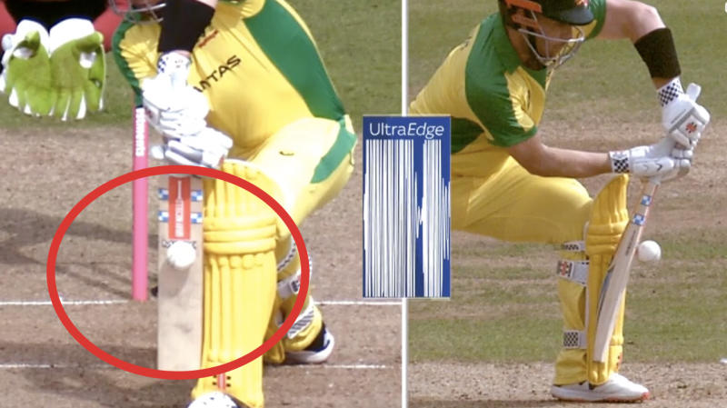 DRS showing Aaron Finch (pictured) middling the shot.