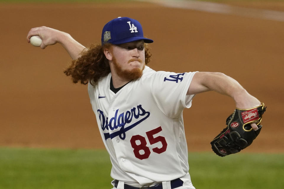 Los Angeles Dodgers pitcher Dustin May throws =ax during the fourth inning in Game 2 of the baseball World Series Wednesday, Oct. 21, 2020, in Arlington, Texas. (AP Photo/Tony Gutierrez)