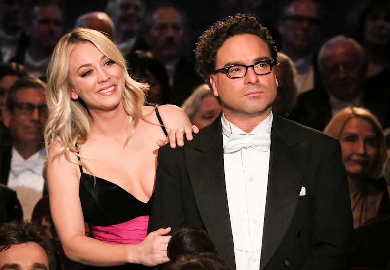 Kaley Cuoco and Johnny Galecki at an event