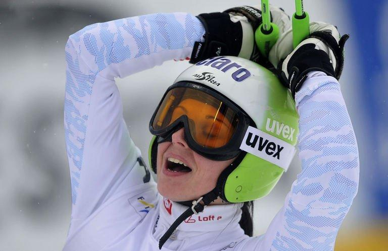 Anna Fenninger reacts during the women's World cup giant slalom in Semmering, Austria on December 28, 2012