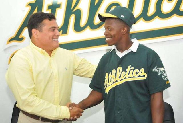 Lazaro Armenteros signed with the A's during the summer of 2016. (A's)