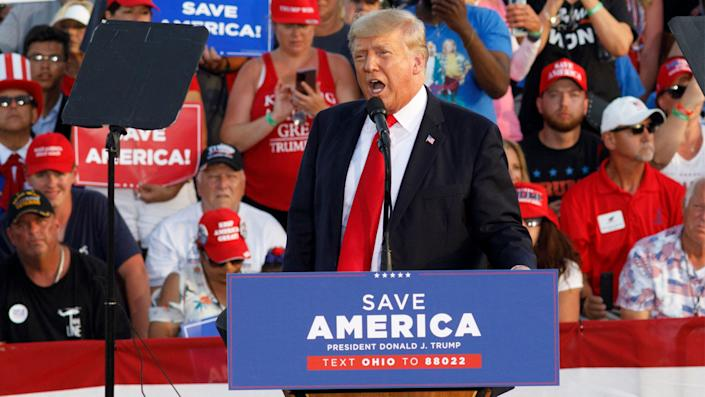 Former President Donald Trump addresses a campaign-style rally in Wellington, Ohio,on June 26.
