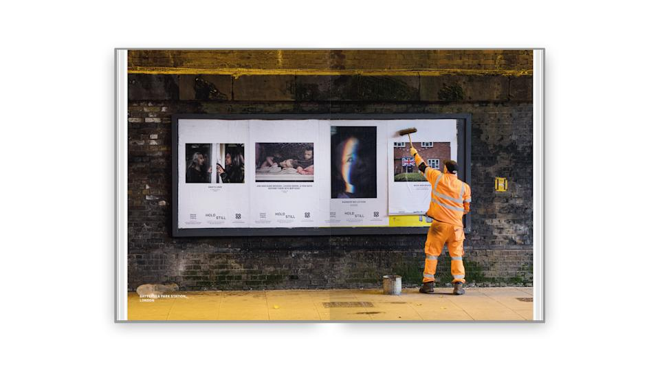 The book also shows the rollout of the exhibition, which saw pictures being put on billboards around the country. (The National Portrait Gallery)