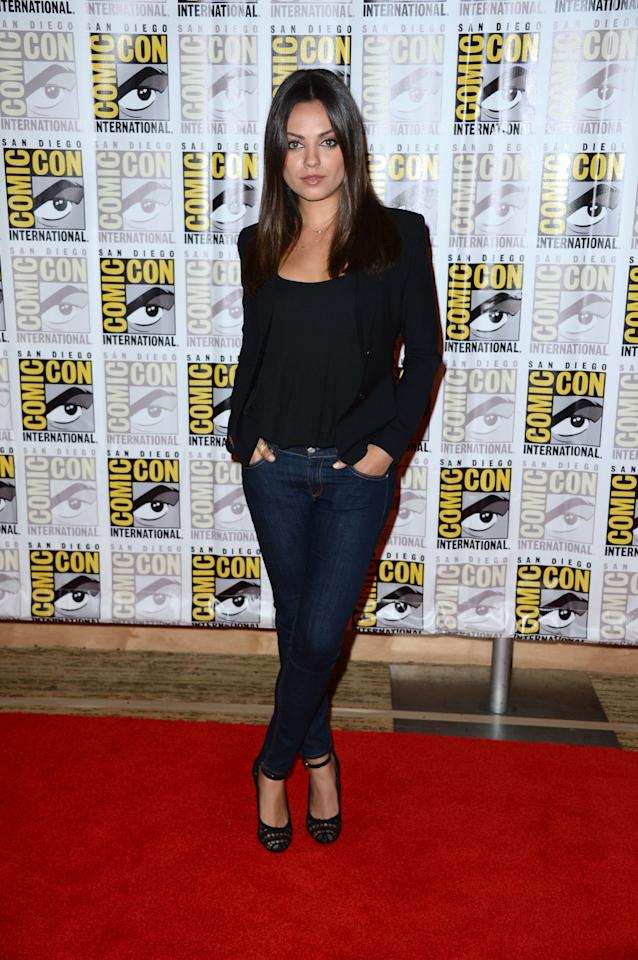 """SAN DIEGO, CA - JULY 12:  Actress Mila Kunis attends Walt Disney Studios: """"Frankenweenie,"""" """"Wreck It Ralph"""" and """"Oz"""" during Comic-Con International 2012 held at the Hilton San Diego Bayfront Hotel on July 13, 2012 in San Diego, California.  (Photo by Frazer Harrison/Getty Images)"""