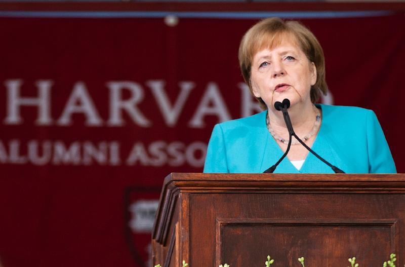 German Chancellor Angela Merkel delivered the keynote speech at Harvard University's 368th commencement ceremony