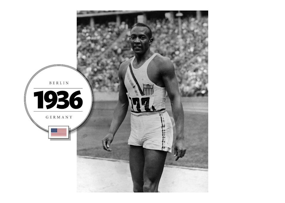 The United States competed in the 1936 Berlin Olympic Games in Nazi Germany with 18 African-American athletes, including Jesse Owens, a four-time gold medalist track and field star. Owens competed in a uniform that's perhaps the most skin-baring to date. (Getty Images)