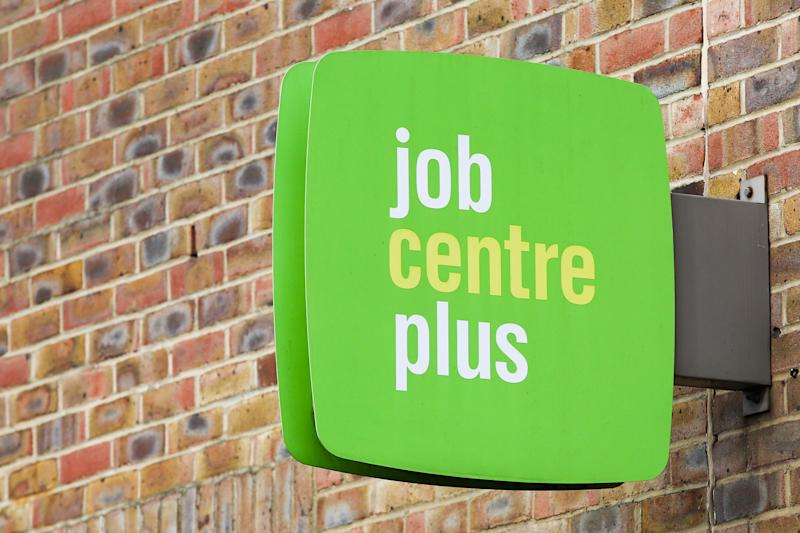 A Job Centre Plus sign is seen outside its central London office. (Photo by Dinendra Haria / SOPA Images/Sipa USA)