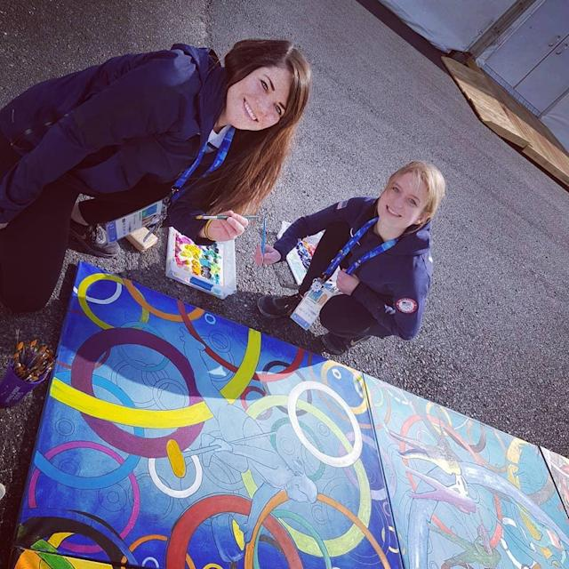 <p>heccabamilton: Painting in the village with @corychristensen7 ! Big game tonight against Sweden! Who is waking up early to cheer us on?! Lets go USA! #pyeongchang2018 #curling #teamusa #olympicart<br>(Photo via Instagram/heccabamilton) </p>