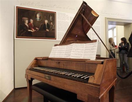 Mozart's original Anton-Walter-piano is pictured at Mozart's former apartment in central Vienna