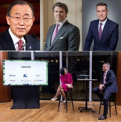 Lombard Odier is leading a net zero conversation with former UN chief Ban Ki-moon and his six strategic alliances, moderated by Bloomberg's chief international correspondent for Southeast Asia, Haslinda Amin.  Speakers are (left to right): Former United Nations Secretary-General Ban Ki-moon as keynote speaker, Hubert Keller, Senior Managing Partner of Lombard Odier and Sponsoring Partner and CEO, Asia Vincent Magnenat.