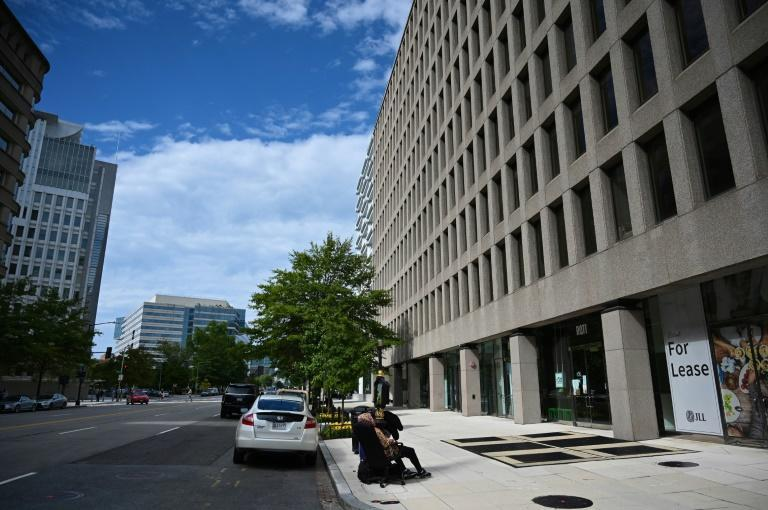 The sidewalk is empty outside the IMF and World Bank headquarters amid the coronavirus pandemic on October 1, 2020 in Washington