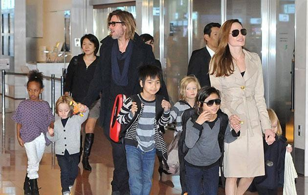 Brad and Ange with their children. Source: Getty Images.