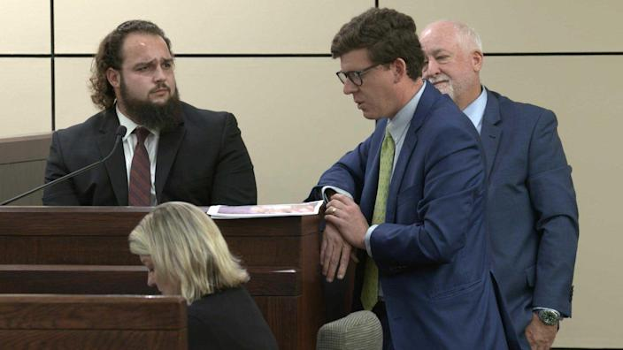 During cross-examination, defense attorney John Hunter grilled Jett Birchum about what he says he saw that day. Birchum originally told police that he saw Mark Howerton pick Cayley Mandadi up and put her in his car as they were leaving the festival. On the stand, Birchum admits to lying about this to the grand jury, saying he didn't actually see Mark put Cayley in his car. / Credit: Billy Calzada/San Antonio Express-News via ZUMA Wire