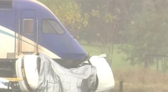 The woman and her dog died after their car was struck by a train at a road crossing.Photo: Channel 7