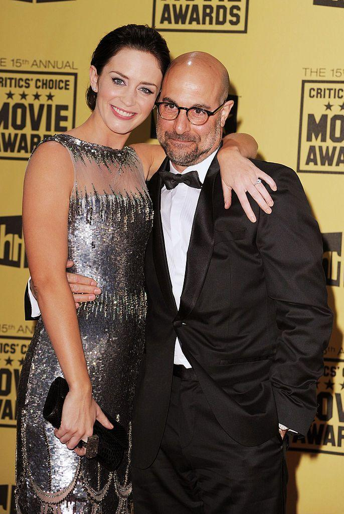 <p>These two are related through #marriage. Stanley Tucci is married to Emily Blunt's sister, Felicity. (Fun fact: The couple met at Emily's wedding!) </p>