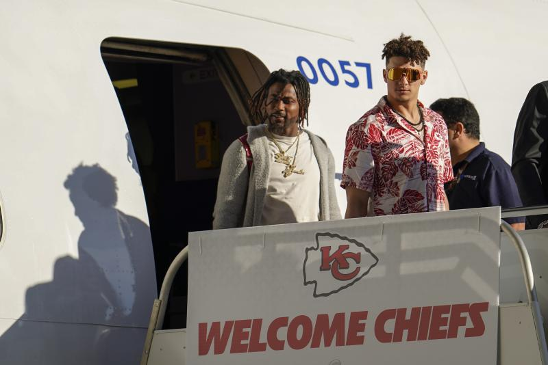Kansas City Chiefs' Patrick Mahomes arrives for the NFL Super Bowl 54 football game Sunday, Jan. 26, 2020, at the Miami International Airport in Miami. (AP Photo/David J. Phillip)