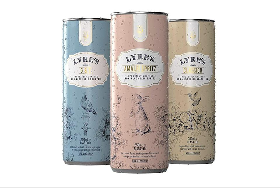 <p>If you love your artisanal cocktails but hate the hangovers, give the <span>Lyre's Non-Alcoholic Mixed Pack </span> ($44 for 12) a try. It comes in Amalfi spritz, gin and tonic, and classico flavors.</p>