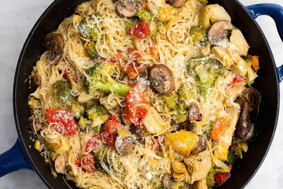 """<p>When in doubt, roast the <a href=""""https://www.delish.com/uk/food-news/a29187765/how-to-keep-veg-fruit-fresh/"""" rel=""""nofollow noopener"""" target=""""_blank"""" data-ylk=""""slk:vegetables"""" class=""""link rapid-noclick-resp"""">vegetables</a>. It magnifies the flavour of anything—broccoli! mushrooms! cherry tomatoes!—tenfold. </p><p>Get the <a href=""""https://www.delish.com/uk/cooking/recipes/a32014735/angel-hair-primavera-recipe/"""" rel=""""nofollow noopener"""" target=""""_blank"""" data-ylk=""""slk:Angel Hair Pasta Primavera"""" class=""""link rapid-noclick-resp"""">Angel Hair Pasta Primavera</a> recipe.</p>"""