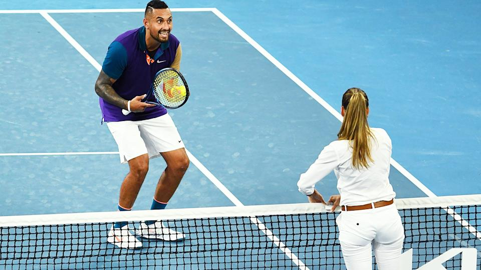 Nick Kyrgios, pictured here arguing with Marijana Veljovic at the Australian Open.
