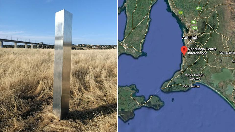 A monolith has appeared at Noarlunga Centre in South Australia. Source: Nine News/Google Maps
