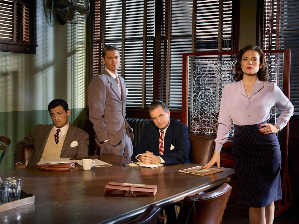"<p>After <em>Wandavision</em>, you might be looking to revisit more series set within the Marvel Cinematic Universe. And let us direct you to <em>Agent Carter</em>, which has Hayley Atwell reprising her role as Peggy, Captain America's main gal and a badass secret agent.</p> <p><a href=""https://cna.st/affiliate-link/RTBwSQLjudqZu6FeHy33PvgbVVdXdyLJUiGuWnxMCyCmedZJ3ndqisQ2E79UH7rjwmLAWFiAdwzK4EBXpDsAqD68eVcZKmipaoweWzrsFXqaN2Hj98R6adzb?cid=602d2c5aaf59f1a6e55ce4f6"" rel=""nofollow noopener"" target=""_blank"" data-ylk=""slk:Watch now on Disney+"" class=""link rapid-noclick-resp""><em>Watch now on Disney+</em></a></p>"