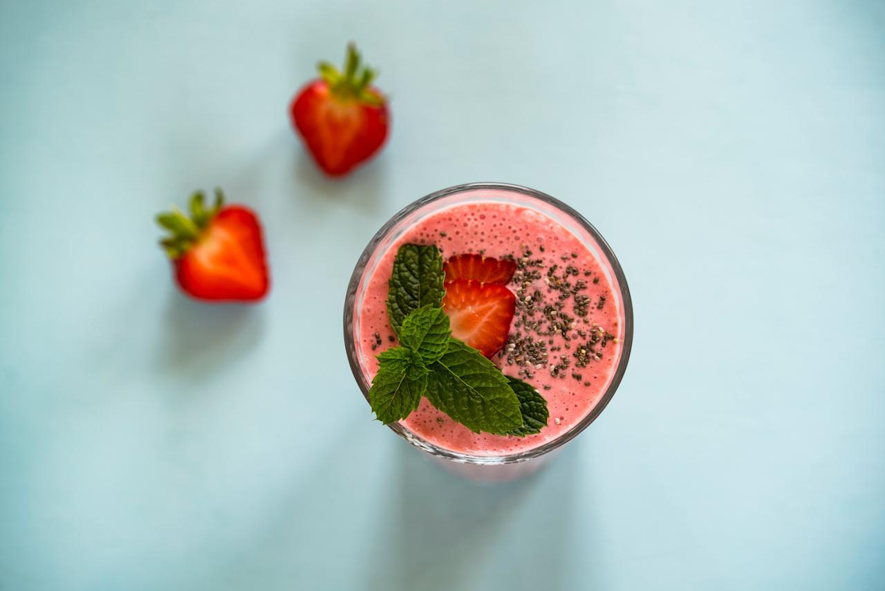 """<p>It doesn't get simpler than this: Mancinelli recommends blending up a few strawberries with some full-fat coconut milk or watered-down coconut cream. One medium strawberry has just 1 gram of carbs. You can also add a tiny bit of vanilla extract as an aromatic, or some coconut flakes or chia seeds for texture. Pro tip: Opt for frozen strawberries for a frothy frozen drink.</p> <p><strong>RELATED: <a href=""""https://www.health.com/weight-loss/ketogenic-diet-vs-atkins-diet"""">Keto vs. Atkins: Which Is the Better Low-Carb Diet?</a></strong></p>"""