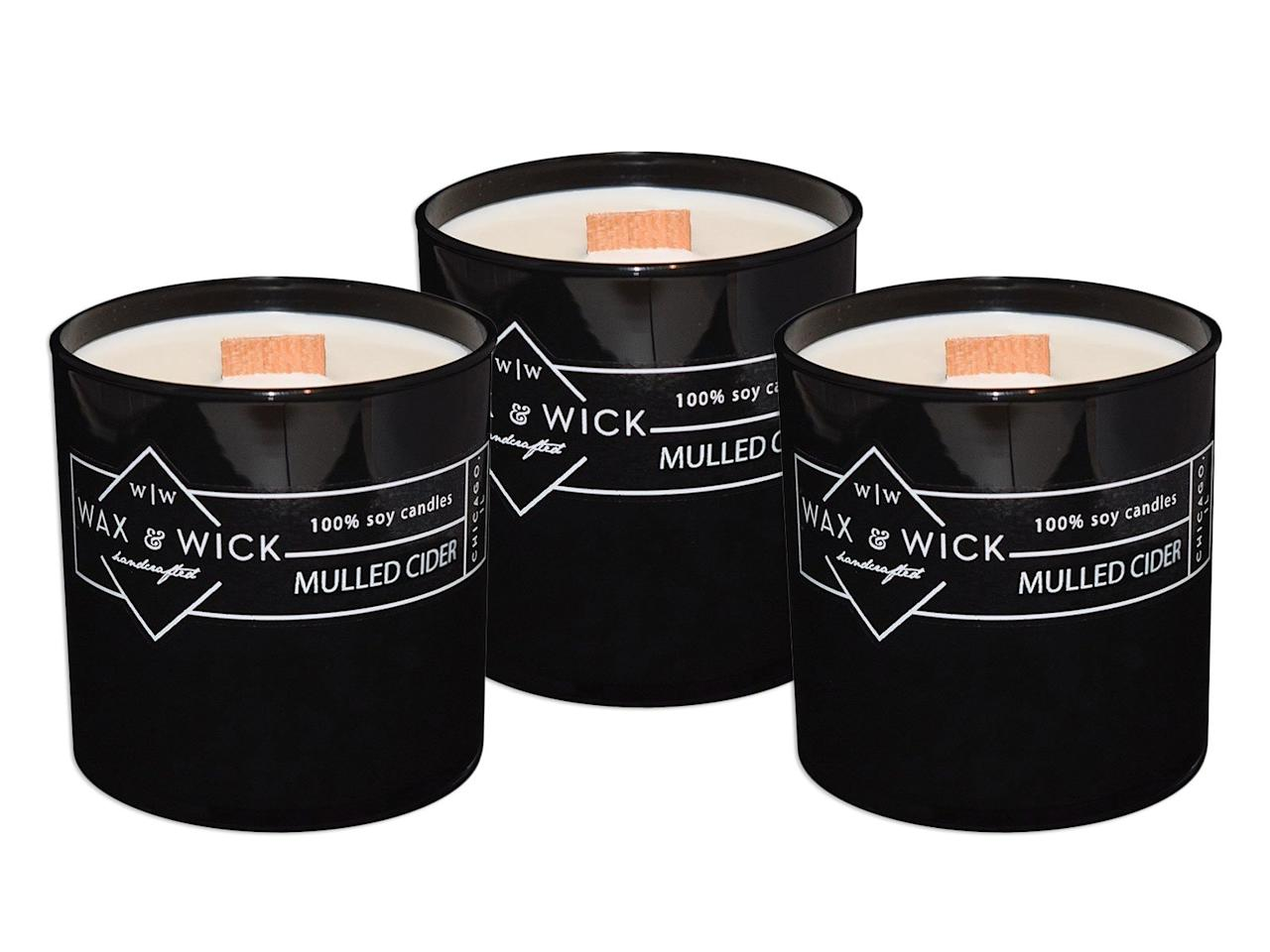 "<p>This super-woodsy and long-burning candle smells almost as good as mulled cider tastes.</p> <p><i>Wax and Wick Mulled Cider Soy Candle, $25 at </i><a href=""https://www.amazon.com/Scented-Soy-Candle-Cleanly-Caramel/dp/B01FVE194K/ref=as_li_ss_tl?ie=UTF8&linkCode=ll1&tag=fwfoodscentedcandles1119-20&linkId=208d2304946222c7c32980f744604913&language=en_US"" target=""_blank""><i>amazon.co</i><i>m</i></a></p>"