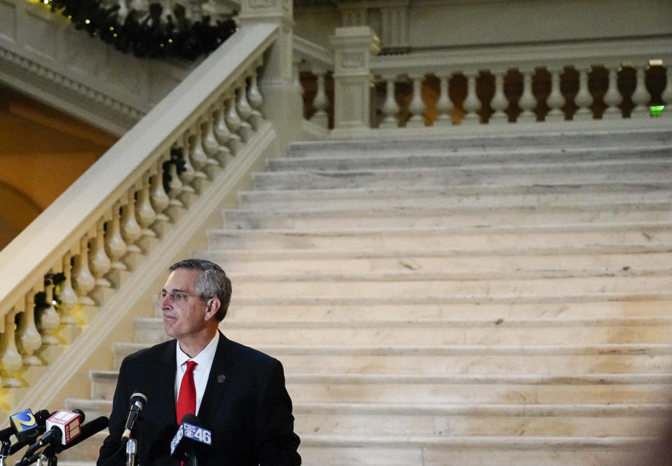 Georgia Secretary of State Brad Raffensperger speaks during a news conference on Monday, Nov. 30, 2020, in Atlanta. (AP Photo/Brynn Anderson)