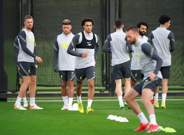Trent Alexander-Arnold trains with his Liverpool team-mates
