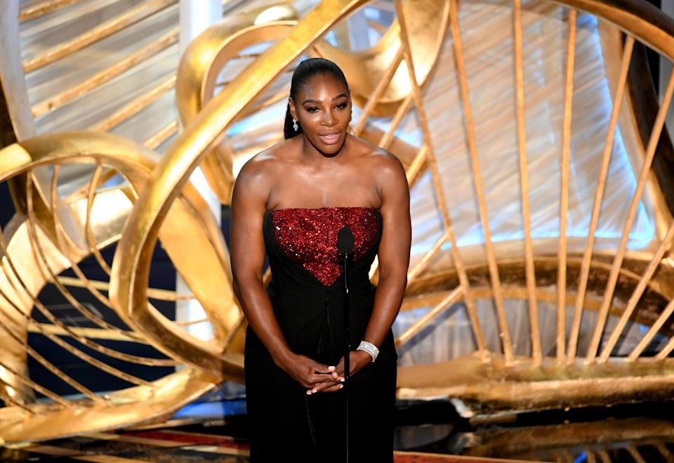 Serena Williams during her speech at the Oscars in Los Angeles [Photo: Getty]