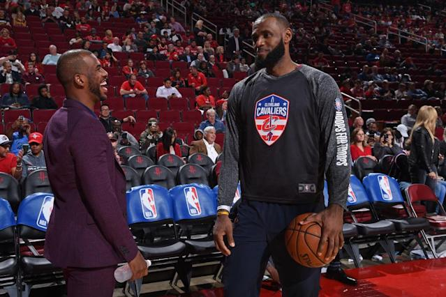 "Maybe <a class=""link rapid-noclick-resp"" href=""/nba/players/3930/"" data-ylk=""slk:Chris Paul"">Chris Paul</a>'s recruitment of <a class=""link rapid-noclick-resp"" href=""/nba/players/3704/"" data-ylk=""slk:LeBron James"">LeBron James</a> started before the <a class=""link rapid-noclick-resp"" href=""/nba/teams/hou"" data-ylk=""slk:Rockets"">Rockets</a> lost to the <a class=""link rapid-noclick-resp"" href=""/nba/teams/gsw"" data-ylk=""slk:Warriors"">Warriors</a> in Game 7. (Getty Images)"