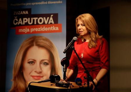 FILE PHOTO: Slovakia's presidential candidate Zuzana Caputova speaks after the first unofficial results at a party election headquarters in Bratislava, Slovakia, March 16, 2019. REUTERS/David W Cerny