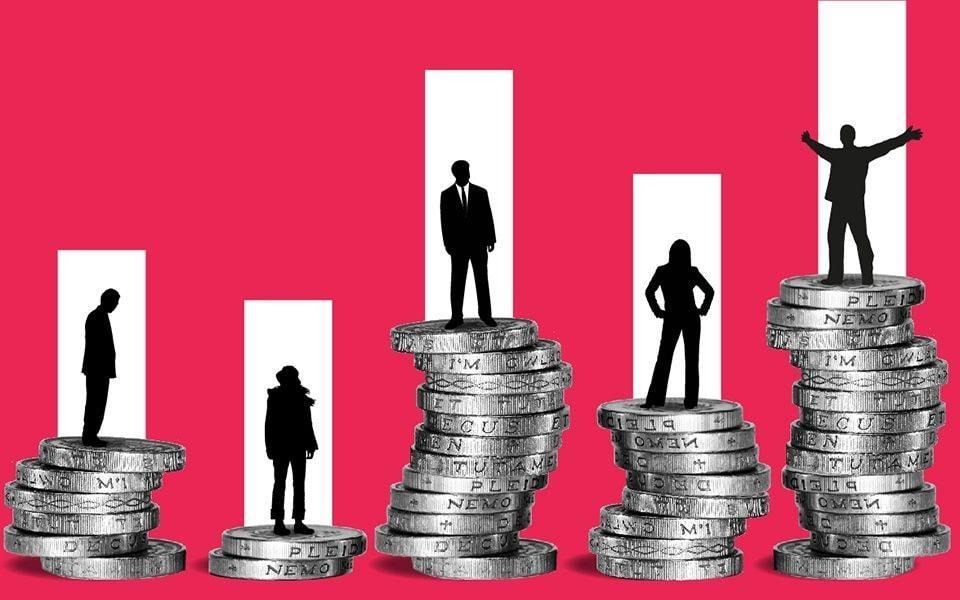 Piles of money with investors standing on them (illustration)