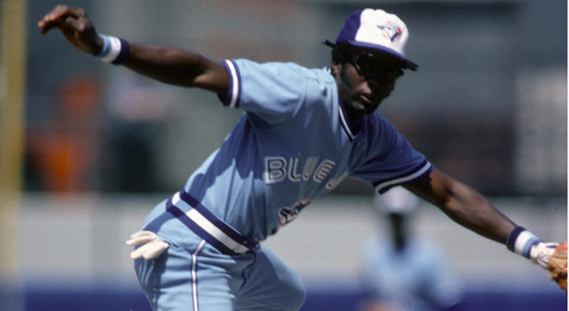 NEW YORK - CIRCA 1979: Alfredo Griffin #1 of the Toronto Blue Jays completed his throw to first base. (Getty Images)