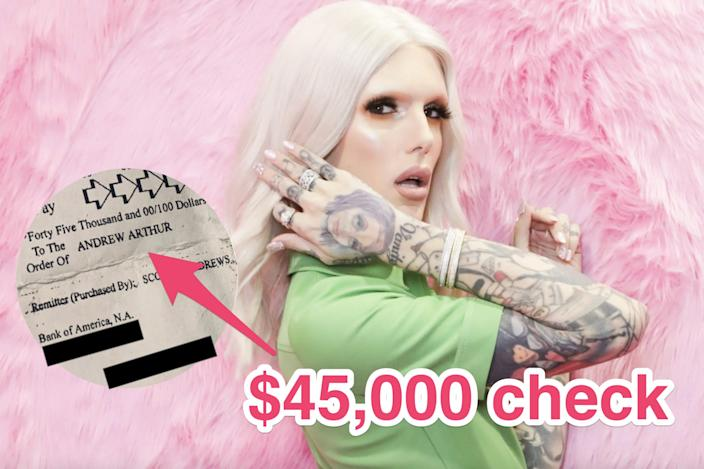 A $45,000 check was paid out to one of Jeffree Star's sexual assault accusers by a Jeffree Star Cosmetics executive.