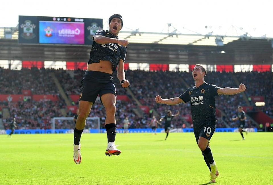 Raul Jimenez celebrates after giving Wolves the lead (Getty Images)