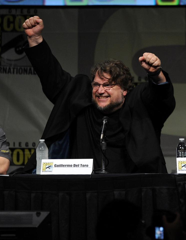 "SAN DIEGO, CA - JULY 14:  Director Guillermo del Toro speaks at Warner Bros. Pictures and Legendary Pictures Preview of ""Pacific Rim"" during Comic-Con International 2012 at San Diego Convention Center on July 14, 2012 in San Diego, California.  (Photo by Kevin Winter/Getty Images)"