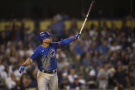 Chicago Cubs' Willson Contreras looks up after a hitting a two-run home run during the sixth inning of a baseball game against the Los Angeles Dodgers in Los Angeles, Thursday, June 24, 2021. (AP Photo/Kelvin Kuo)